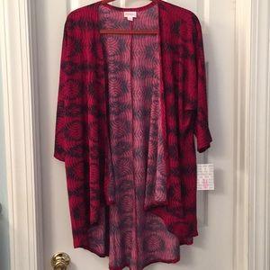 LuLaRoe Lindsay Slinky Fabric Deep Red/Navy NWT M